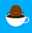 cute smiling happy coffee bean lies vector image