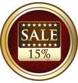 Fifteen percent sale icon vector image