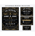 Letterpress Wedding Invitation Design Template vector image