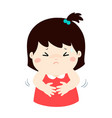 little girl having stomach ache cartoon vector image