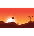 Silhouette of windmill and bridge vector image