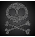 silver sequins skull Jolly Roger vector image