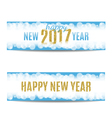 Happy New Year 2017 banners golden text and vector image
