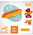 Set hot dog symbol vector image