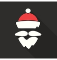 Flat Design Santa Claus Face with beard and vector image