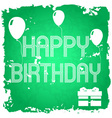 happy birthday on the green old paper background vector image