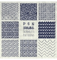 Abstract Pen Drawing Seamless Background Patterns vector image
