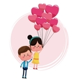cute couple loving with pink balloons heart shaped vector image
