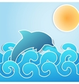Dolphin jumping through waves vector image