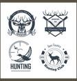 hunting club or hunt adventure logo templates set vector image