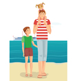 Man with little girl and boy vector image