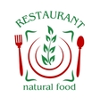 Natural food restaurant icon vector image