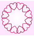 Round background with hearts vector image