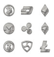 silver cryptocurrency trendy 3d style icon vector image