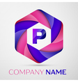 P Letter colorful logo in the hexagonal on grey vector image