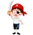 Pirate boy holding sword vector image