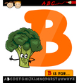 letter b with broccoli cartoon vector image vector image