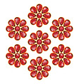 Red Flowers of Rubies Isolated Objects vector image vector image