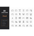 30 cloud line icons vector image