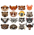 Set of animal heads vector image