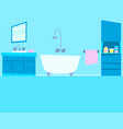 blue bathroom with furniture vector image