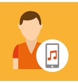 character young man smartphone music application vector image