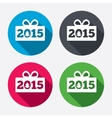 Happy new year 2015 sign icon Christmas gift vector image