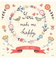You make me happy romantic card with birds and vector image
