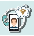 man smartphone wifi and telephone vector image