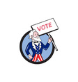 Uncle Sam Holding Placard Vote Circle Cartoon vector image