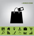 shopping bag sign with tag  black icon at vector image