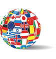 world flags ball vector image vector image