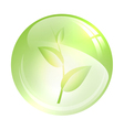 glossy ball with green sprout vector image vector image