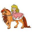 cute little princess riding on a horse isolated o vector image