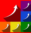 growing arrow sign set of icons with flat vector image