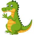 happy fun cute crocodile cartoon vector image