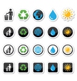 Man and bin recycling globe eco power icons set vector image