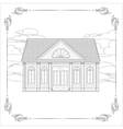 Old house with details and floral decorative frame vector image