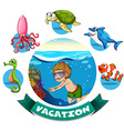 Vacation banner with man diving underwater vector image