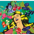 happy woman with berries background vector image