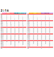 2016 colorful calendar vector image