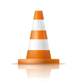 Orange plastic traffic cone with reflection vector image vector image