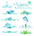set of watercolor ocean page decorations and vector image