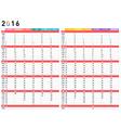 2016 colorful calendar vector image