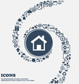Home Main page icon sign in the center Around the vector image