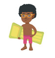 little african boy holding inflatable mattress vector image