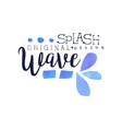 splash wave logo original design aqua label vector image
