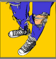 young human on blue jeans and sneakers vector image