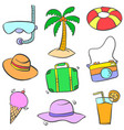 collection stock of summer object doodles colorful vector image