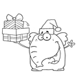 Elephant christmas cartoon vector image vector image